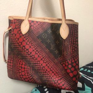 Lv Neverfull kusama waves rare dots canvas tote